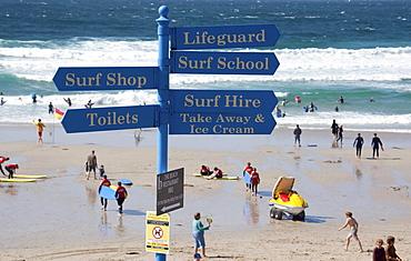 Signpost at Sennen Cove, Cornwall, England, United Kingdom, Europe