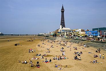 Blackpool Beach and Tower, Lancashire, England, United Kingdom, Europe