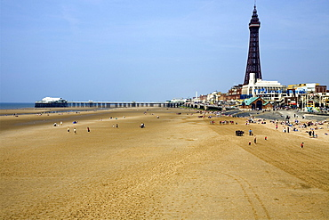 Blackpool Beach, North Pier and Tower, Lancashire, England, United Kingdom, Europe