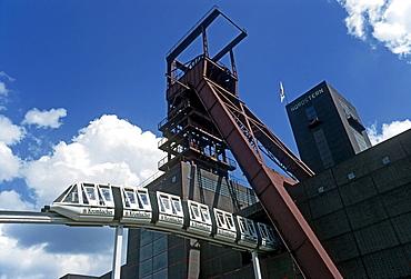 Opening Nordsternpark park, Bundesgartenschau Federal Garden Show 1997, elevated train driving in front of shaft tower, Gelsenkirchen, Ruhr area, North Rhine-Westphalia, Germany, Europe