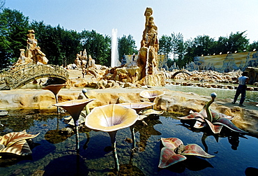 Walkable fantasy landscape with water plants, Warner Brothers Movie World 2003, now Movie Park Germany, Bottrop Kirchhellen, Ruhr area, North Rhine-Westphalia, Germany, Europe