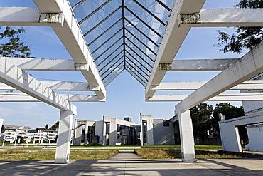 Remnants of a former warehouse, Garten der Erinnerungen Garden of Memories by Dani Karavan, view of the Jewish Community Center, inner harbor, Duisburg, Ruhrgebiet area, North Rhine-Westphalia, Germany, Europe