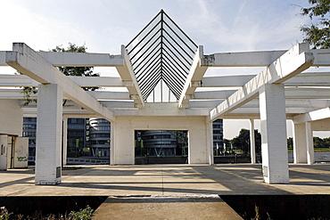 Remnants of a former storage building, Garten der Erinnerungen Garden of Memories by Dani Karavan, artificial ruins, inner harbor, Duisburg, Ruhrgebiet area, North Rhine-Westphalia, Germany, Europe
