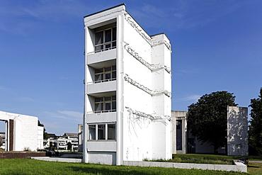 Remnants of a former storage building, artificial ruins, Garten der Erinnerungen Garden of Memories by Dani Karavan, inner harbor, Duisburg, Ruhrgebiet area, North Rhine-Westphalia, Germany, Europe