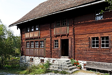 Haus Fuessinger house from Siebratsreute, from 1705, Rhine valley house-style, Wolfegg farmhouse museum, Allgaeu region, Upper Swabia, Baden-Wuerttemberg, Germany, Europe