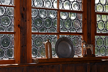Crown glass or leadlight windows, Fuessinger House from Siebratsreute, Wolfegg Farmhouse Museum, Allgaeu, Upper Swabia, Baden-Wuerttemberg, Germany, Europe
