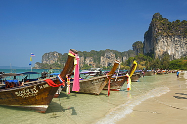 Long-tail boats on Rai Leh West Beach, Krabi, Thailand, Asia