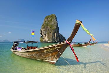 Long-tail boat at Laem Phra Nang Beach, Krabi, Thailand, Asia