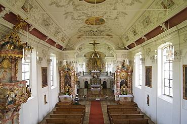Pilgrimage Church of Maaria Schnee in Lehenbuehl, Allgaeu, Bavaria, Germany, Europe