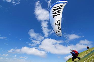 Paragliders, taxi, tandem flight, Tegelberg mountain, Fuessen, Allgaeu, Bavaria, Germany, Europe