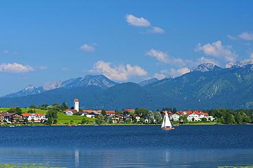 Hopfen am See beside Lake Hopfensee, Allgaeu, Bavaria, Germany, Europe