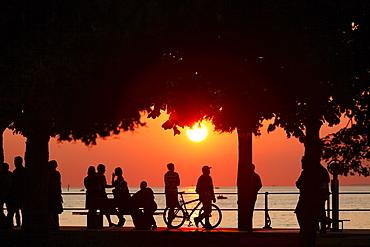 Sunset at the lake promenade in Bregenz, Lake Constance, Vorarlberg, Austria, Europe
