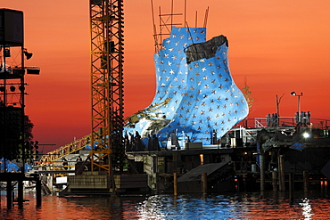 Stage for the opera Aida, Seebuehne Bregenz floating stage, Bregenzer Festspiele Festival, Lake Constance, Vorarlberg, Austria, Europe