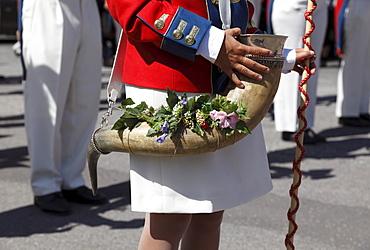 Horn of a sutler, at the Samson Parade, St. Michael, Lungau, Salzburg state, Salzburg, Austria, Europe