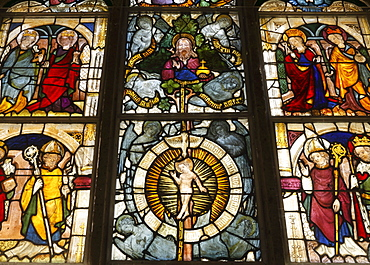 Stained glass windows of a church, St. Leonhard pilgrimage church in Tamsweg, Lungau, Salzburg state, Salzburg, Austria, Europe