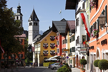 Vorderstadt and Liebfrauenkirche Church in Kitzbuehel, Tyrol, Austria, Europe