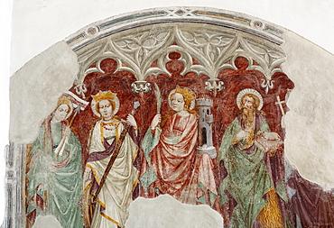 Medieval mural, Franziskanerkirche Franciscan church, Lienz, East Tyrol, Tyrol, Austria, Europe
