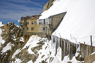Panoramic terrace at the Aiguille du Midi, Chamonix, Mont Blanc Massif, Alps, France, Europe