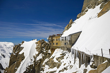 Panoramic terrace of the Aiguille Du Midi, Chamonix, Mont Blanc Massif, Alps, France, Europe