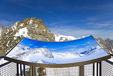 Grand Flambeaux, Aiguille du Midi from Glacier's sun terrace at Punta Helbronner, Funivie Monte Bianco, Mont Blanc funicular, Mont Blanc Massif, Alps, Italy, Europe