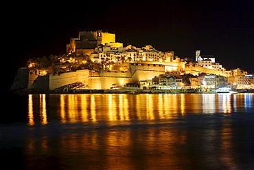 Peniscola at night, Costa Azahar, Spain, Europe