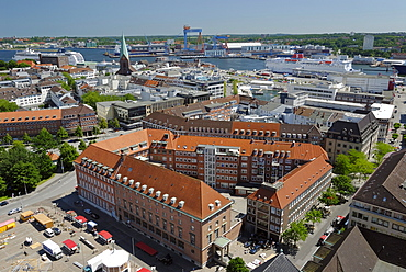 View over the city of Kiel towards the inner fjord with a cruise ship and a Stena Line ferry, Schleswig-Holstein, Germany, Europe