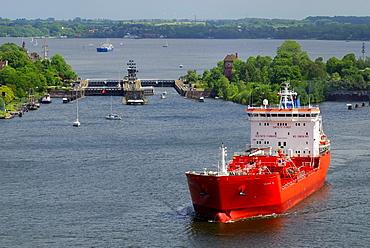 LPG tanker leaving the Holtenau lock, Kiel Canal, Schleswig-Holstein, Germany, Europe