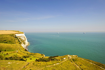 View of the White Cliffs of Dover and across the Channel, Kent, England, UK, Europe