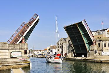 Flap bridge in the port of Weymouth, Dorset, England, UK, Europe