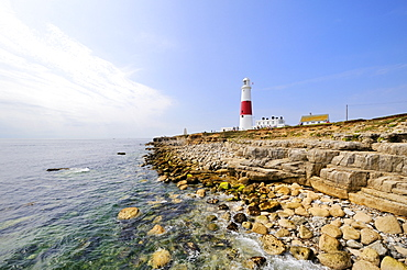 Coastal scenery on the Isle of Portland with the Portland Bill Lighthouse, Dorset, England, UK, Europe