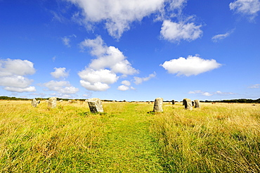 Merry Maidens, stone circle of 19 megaliths from the Bronze Age, in Penzance, Cornwall, England, UK, Europe