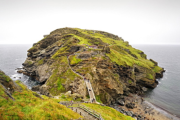View of the peninsula with the remains of Tintagel Castle, Cornwall, England, UK, Europe