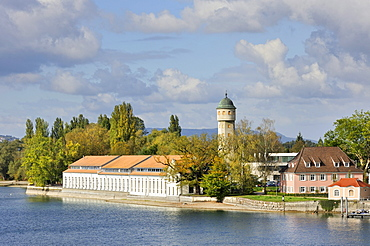 The bleaching house of the former tent factory Landauer and Stromeyer and the water tower, industrial monument of Konstanz, Konstanz district, Baden-Wuerttemberg, Germany, Europe