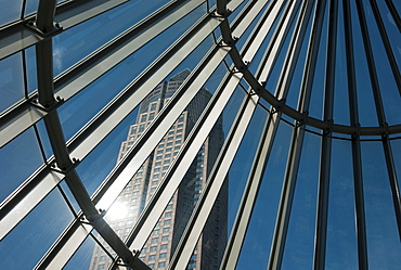 The Messeturm, Fair Tower, 257 meters, seen through the entrance to the subway, Westend, Frankfurt am Main, Hesse, Germany, Europe