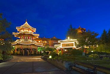 Pagoda, souvenir shop in Chinatown, Phantasialand, Bruehl, Nordrhein-Westfalen, Germany, Europe