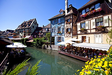 Restaurants in the historic town centre of Colmar, Colmar, Alsace, France, Europe
