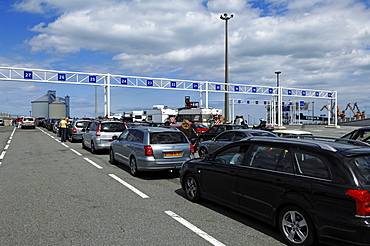 Cars waiting to board the car ferry from Calais-Dover, Calais, France, Europe
