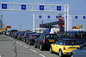 Cars waiting for being loaded onto the car ferry Calais-Dover, Calais, France, Europe