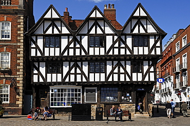 Old half-timbered Tudor-style building, built from 1485 to 1603, Steep Hill, Lincoln, Lincolnshire, England, UK, Europe