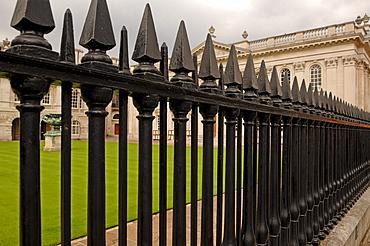 Iron fence in front of Senate House, King's Parade, Cambridge, Cambridgeshire, England, United Kingdom, Europe