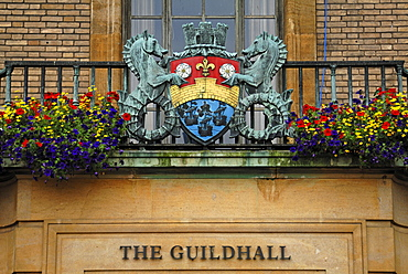 Coat of arms on the balcony of the Town Hall, Market Hill, Cambridge, Cambridgeshire, England, United Kingdom, Europe