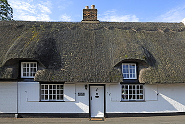 Detail of an old thatched house, High Street 40, Hemingford Gray, Cambridgeshire, England, United Kingdom, Europe