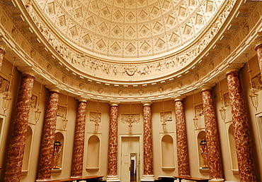 Decorative lobby with dome, detail of Stowe School, private school since 1923, architecture from 1770, Classicism, Stowe, Buckingham, Buckinghamshire, England, United Kingdom, Europe