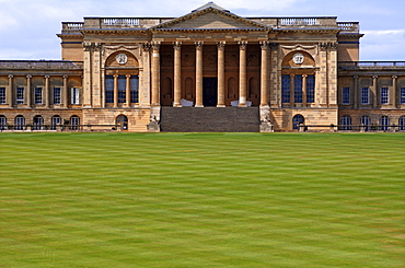 Stowe School seen from the garden side, the school since 1923, architecture from 1770, Classicism, Stowe, Buckingham, Buckinghamshire, England, United Kingdom, Europe