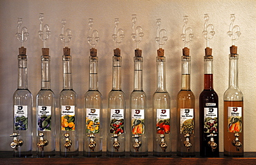 Various fruit brandies in a tasting room, Durbach, Baden-Wuerttemberg, Germany, Europe