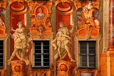 Detail of fresco paintings, 1755, by Johann Anwander on the old town hall, 1467, Obere Bruecke 1, Bamberg, Upper Franconia, Bavaria, Germany, Europe