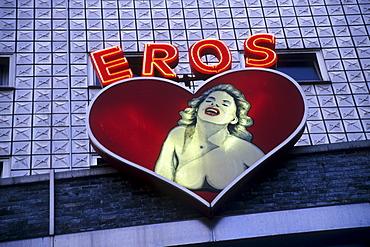 Eros lettering with neon advertising, Kiez, Reeperbahn, St. Pauli, Hanseatic City of Hamburg, Germany, Europe