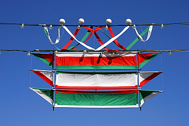 National flag, decorations for a public holiday, Keszthely, Lake Balaton, Balaton, Hungary, Europe