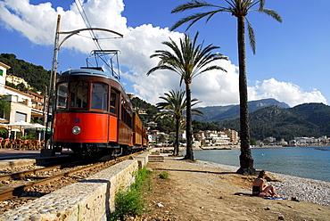 Bay with beach and palm trees, tram in Puerto Soller, Port de Soller, tranvia nach Soller, Mallorca, Majorca, Balearic Islands, Mediterranean Sea, Spain, Europe