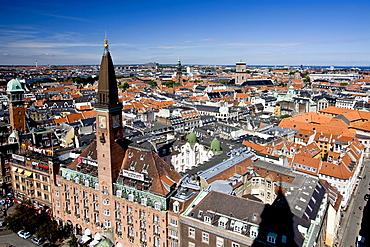 View of Copenhagen from the city hall tower, Copenhagen, Denmark, Europe